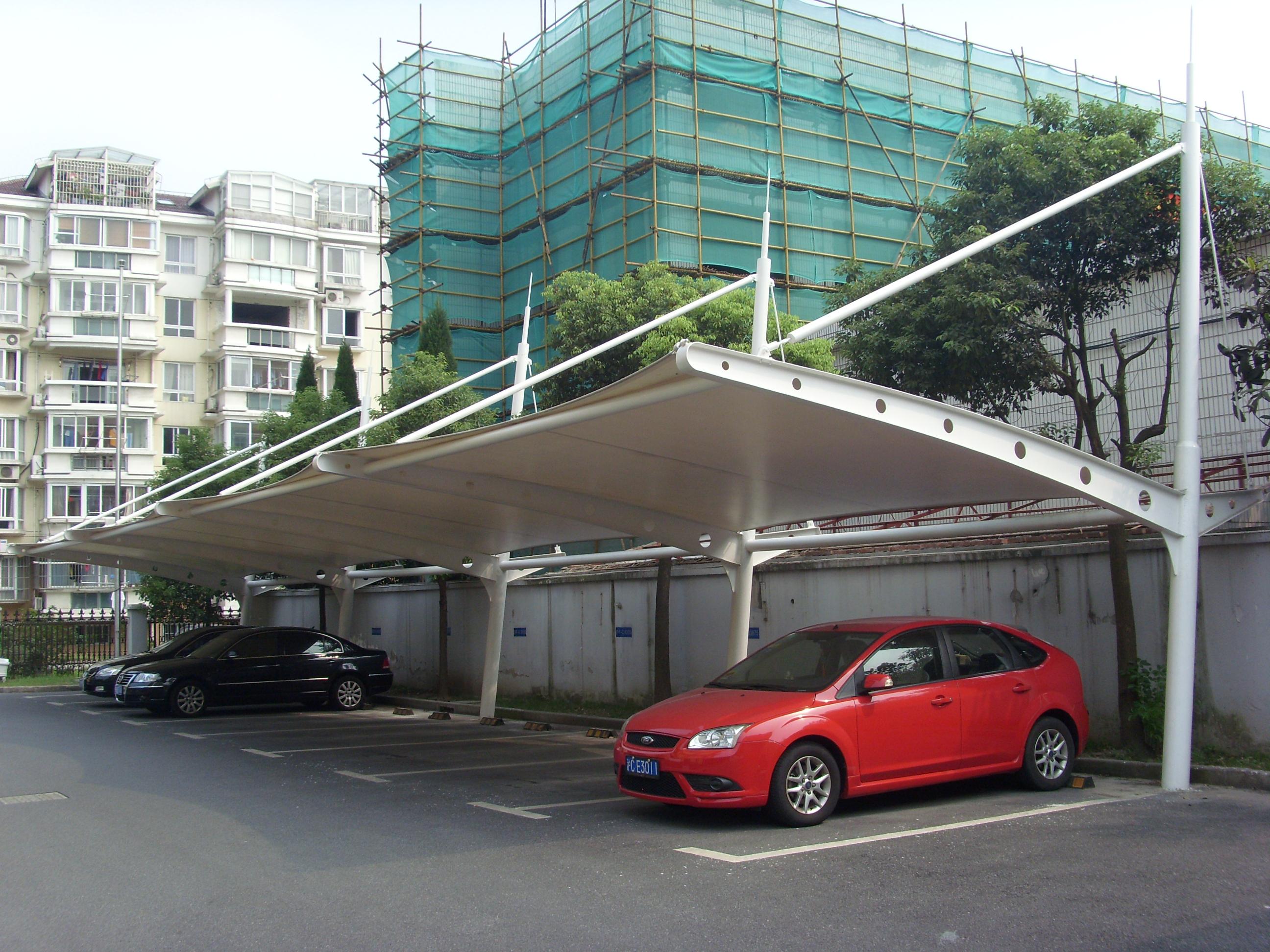 车棚 膜结构车棚 张拉膜车棚 景观车棚