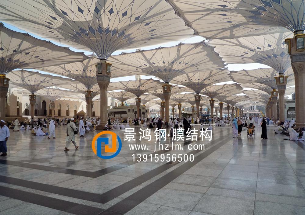 景观膜伞,张拉膜膜伞,景观膜结构伞,张拉膜结构伞,景观张拉膜膜伞,开合式膜结构伞麦地那广场 清真寺.jpg